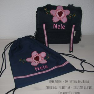 Kindergartentaschen Set mit Namen und Blume