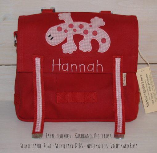 Kindergartentasche mit Namen und Gecko