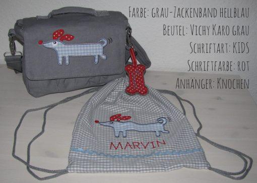 canvastasche Hund mit Namen grau