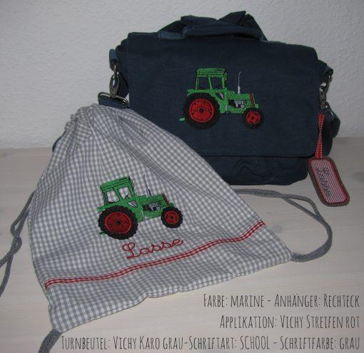 Canvastaschen-Set mit Namen und Traktor