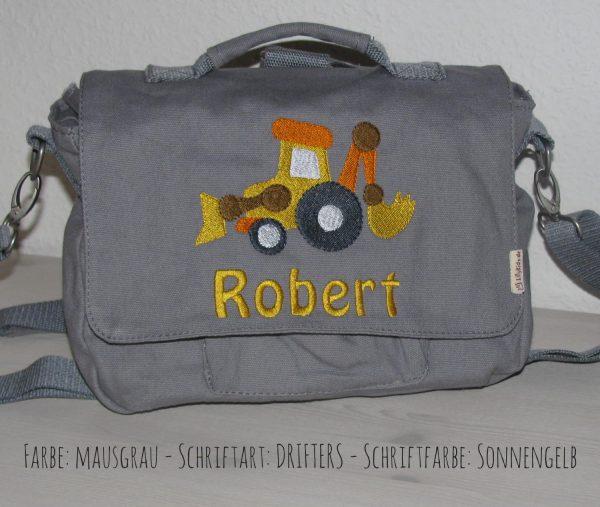 canvastasche mit Namen Radlader grau