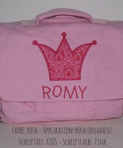 canvastasche Krone mit Namen rosa