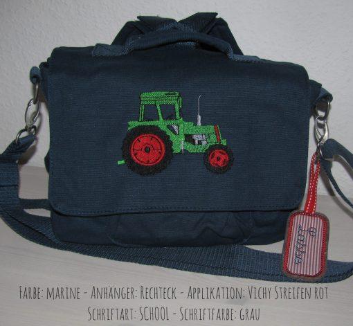 canvastasche traktor zendt blau