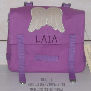 Kindergartentasche mit Namen und Flügel