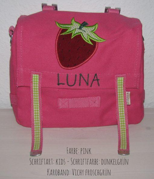 Kindergartentasche mit Namen und Erdbeere
