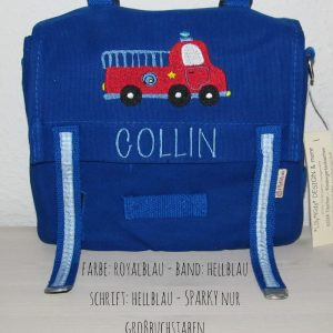 Kindergartentaschen mit Namen Feuerwehr blau
