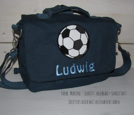 Canvastasche mit Namen und Fussball