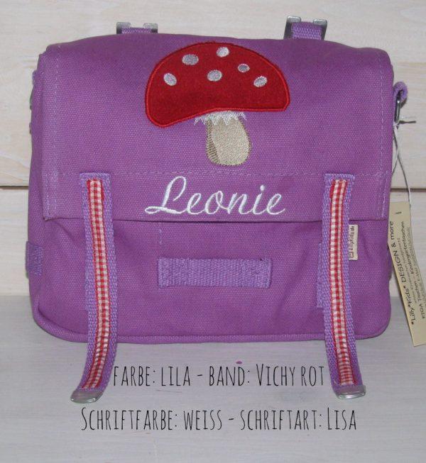 Kindergartentasche mit Namen und Pilz