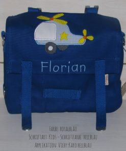 Kindergartentasche mit Namen und Hubschrauber