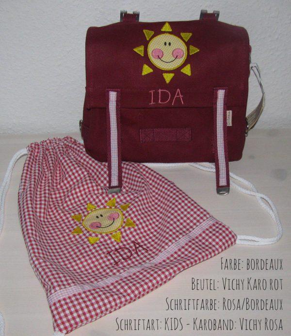 Kindergartentaschen-Set mit Namen Sonne