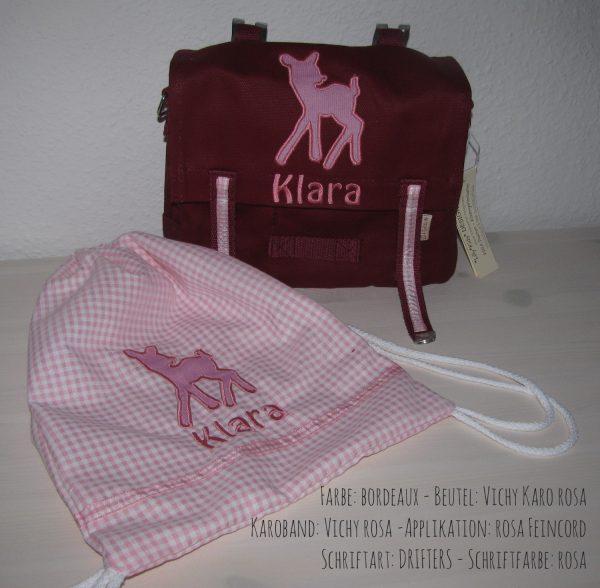 Kindergartentaschen Set mit Namen und Bambi