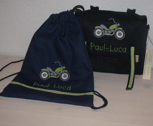 Kindergartentaschen Set mit Namen und Motorrad