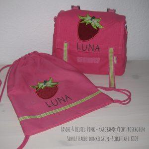 Kindergartentaschen Set mit Namen und Erdbeere