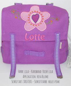 Kindergartentasche mit Namen und Blume mit Herzchen