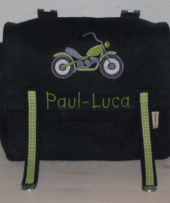 Kindergartentasche mit Namen und Motorrad