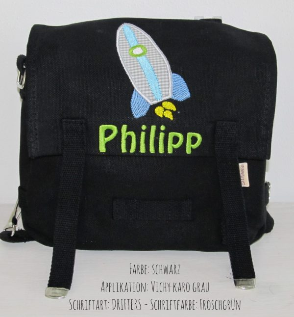 Kindergartentasche mit Namen und Rakete