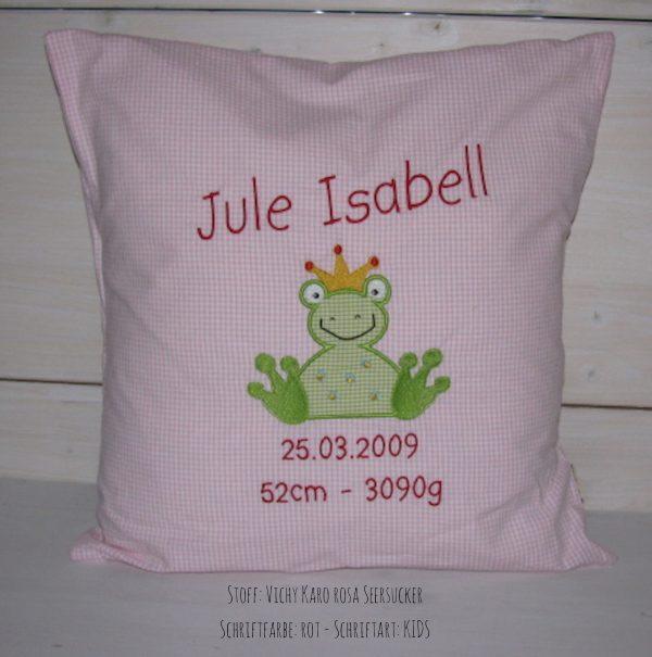 Kuschelkissen Kissen mit Namen und Frosch rosa