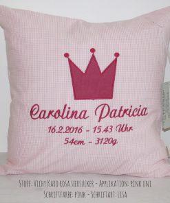 Kissen krone rosa