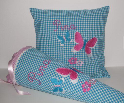 Schultüte mit Namen und Schmetterling in Kombination mit Kissen