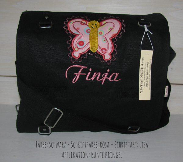 Wickeltasche mit Namen | Schmetterling A schwarz