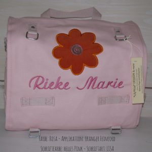 Wickeltasche mit Namen | Sonnenblume rosa