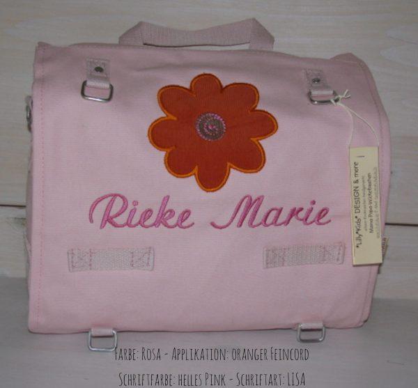 Wickeltasche mit Namen   Sonnenblume rosa