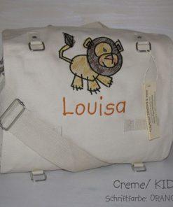 Wickeltasche mit Namen Löwe gestickt