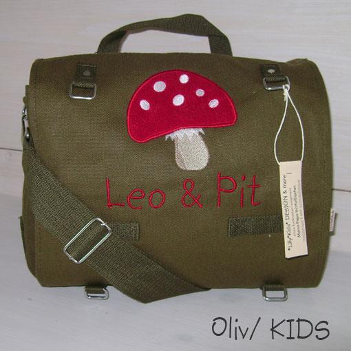 Wickeltasche mit Namen Pilz