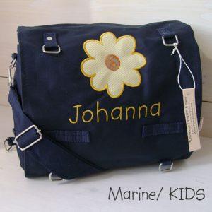 Wickeltasche mit Namen | Sonnenblume marine