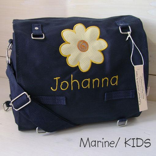Wickeltasche mit Namen   Sonnenblume marine